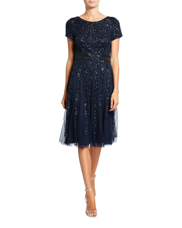 Short-Sleeve Beaded Tulle Cocktail Dress