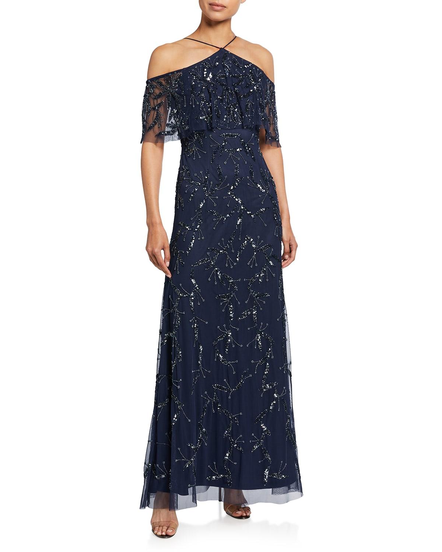 Fully Beaded Cold-Shoulder Halter Gown