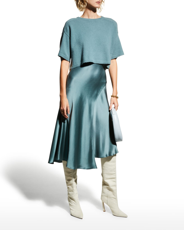 Asymmetric Layered Midi Satin Skirt