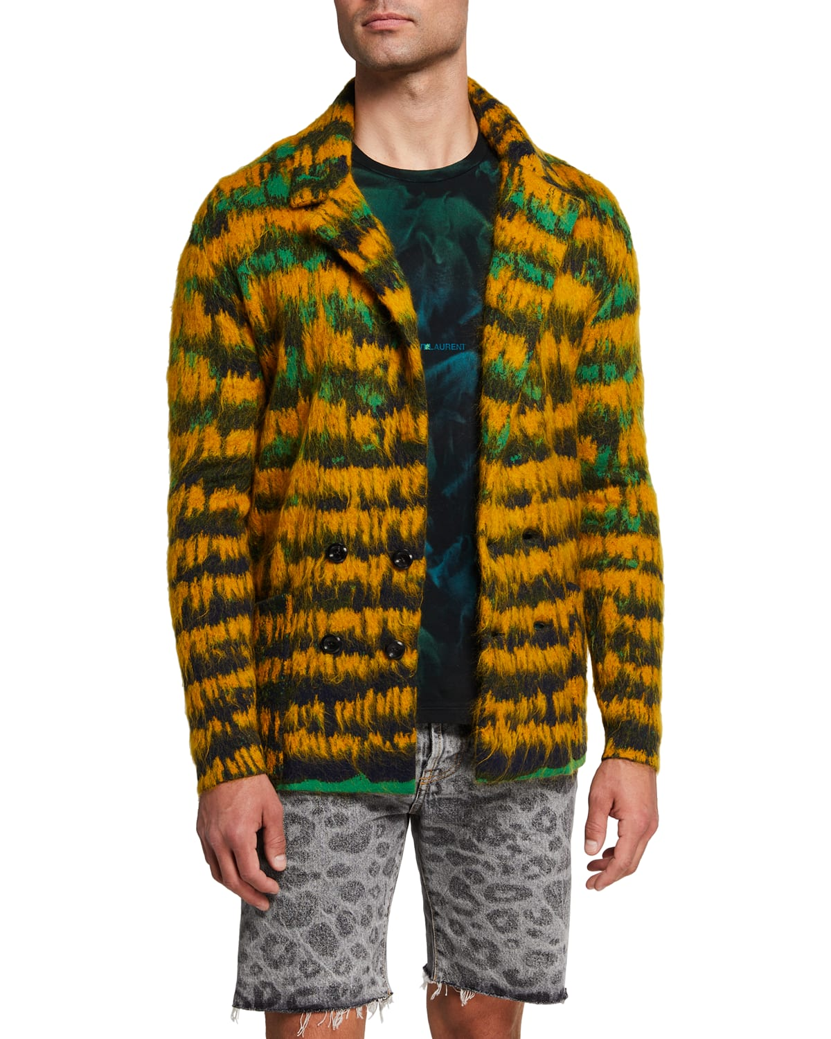 Men's Mohair-Blend Double-Breasted Sweater Jacket