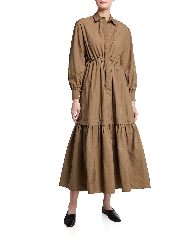 Tiered Button-Down Poplin Maxi Dress