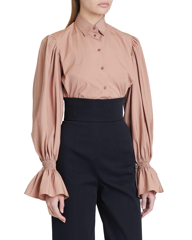 Bishop-Sleeve Button-Down Cotton Shirt