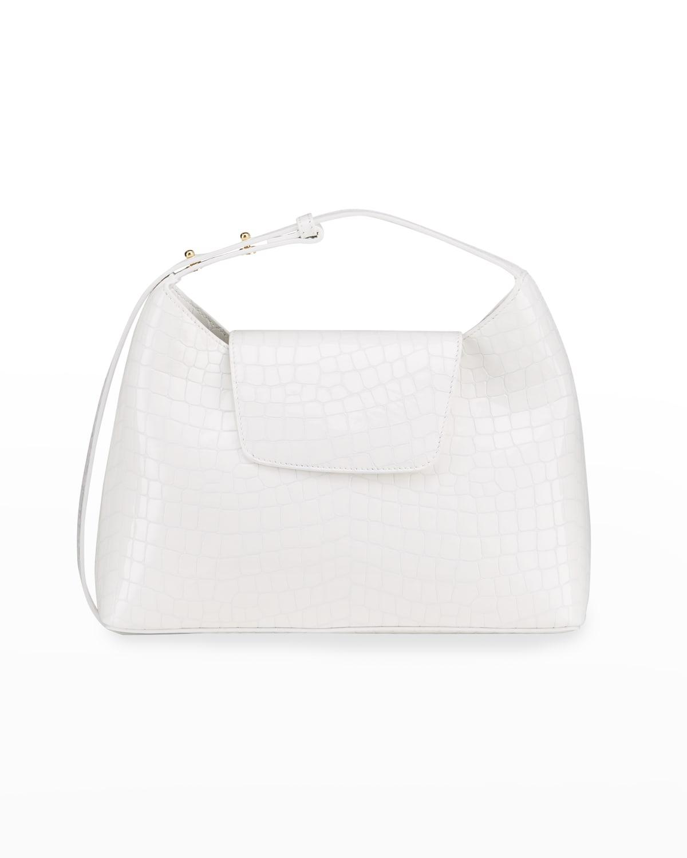 Kitten Croc-Embossed Leather Shoulder Bag