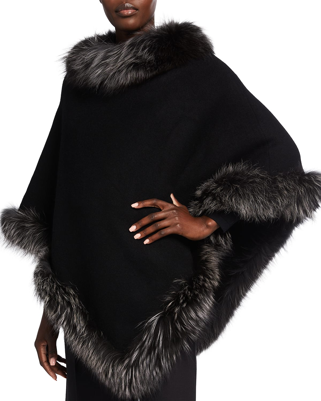 Wool Poncho with Fur Trim