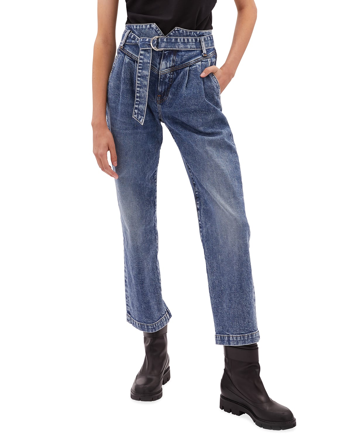 Theo Belted Pleated Jeans