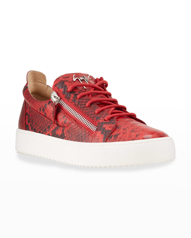 Men's Snake-Embossed Zip Low-Top Sneakers