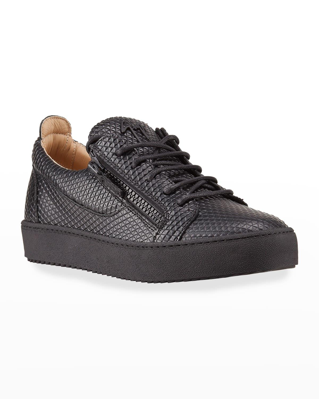 Men's Textured Double-Zip Low-Top Sneakers