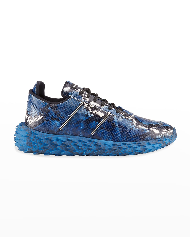 Men's Urchin Snake-Embossed Low-Top Sneakers