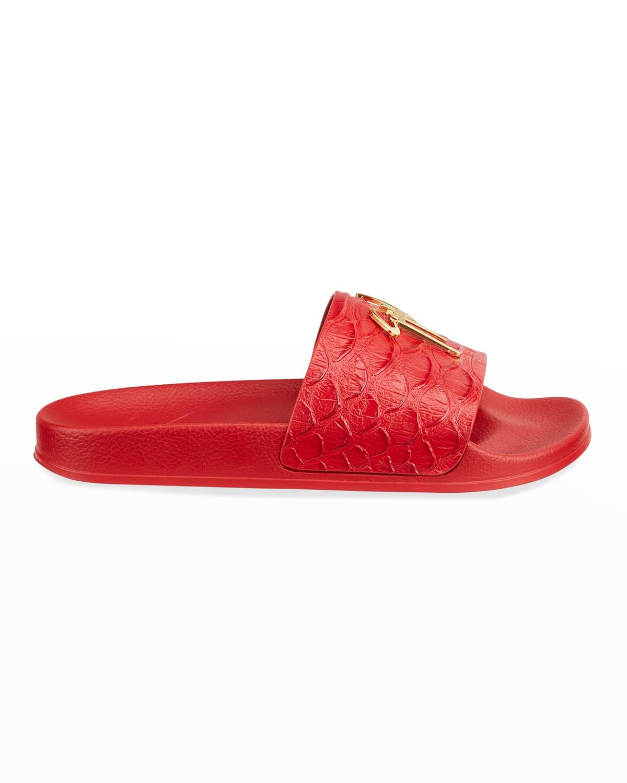 Men's Moc-Croc Logo Athletic Slide Sandals