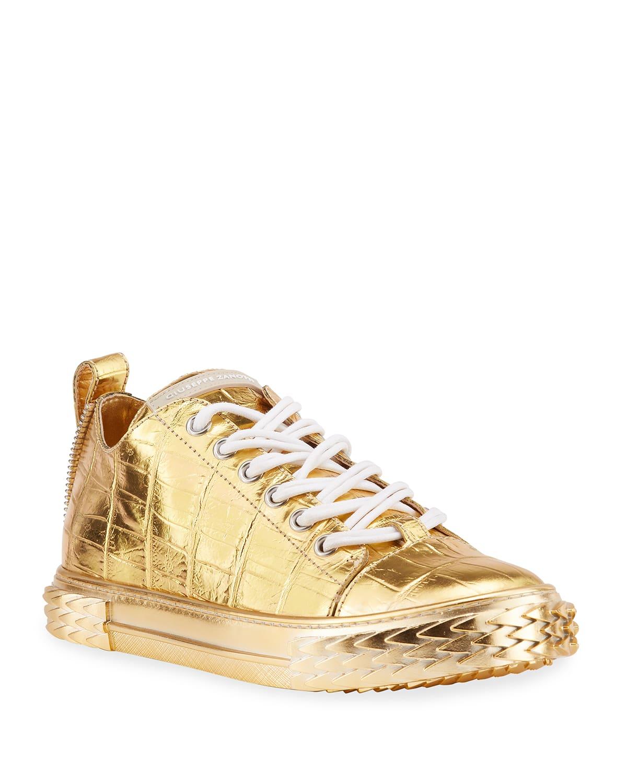 Men's Blabber Metallic Croc-Print Low-Top Sneakers