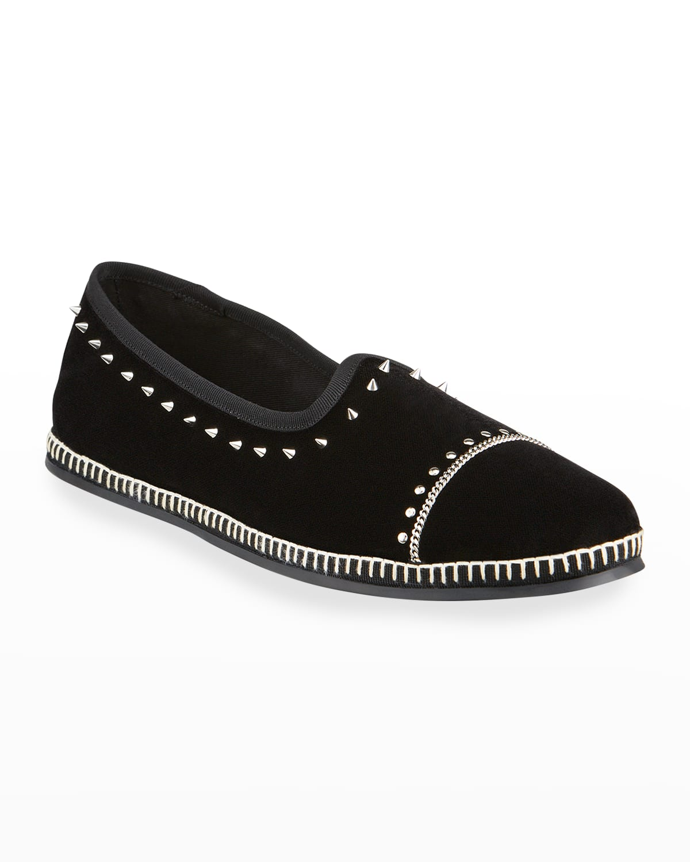 Men's Studded Whipstitch Velvet Slip-On Flats