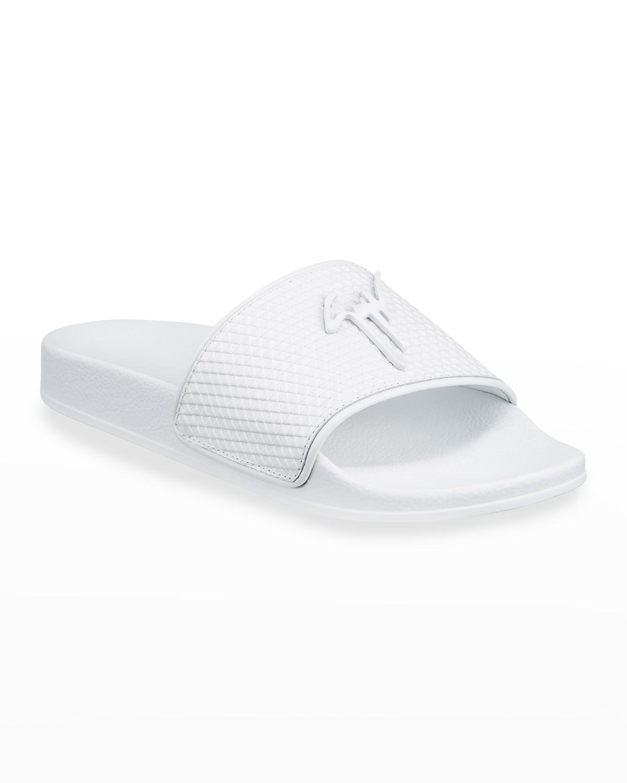 Men's Geometric-Print Leather Slide Sandals