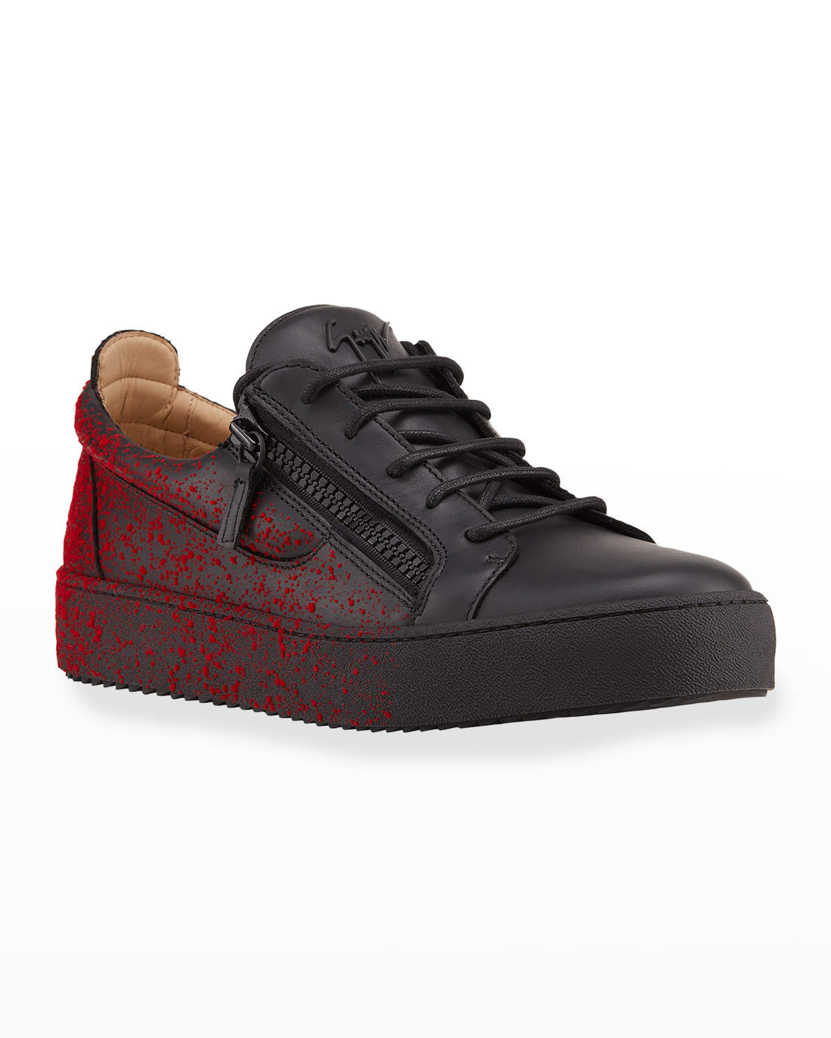 Men's Two-Tone Paint Splattered Leather Sneakers