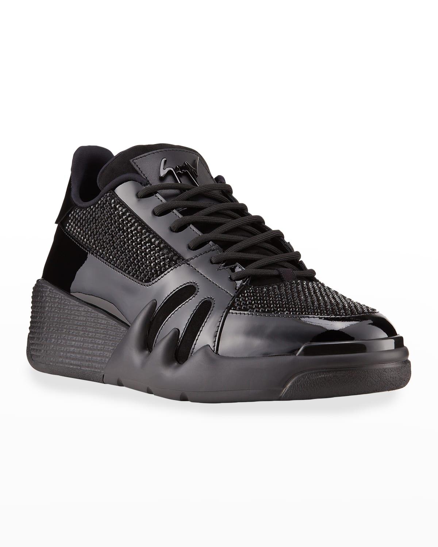 Men's Talon Patent Leather Low-Top Sneaker w/ Swarovski Crystals