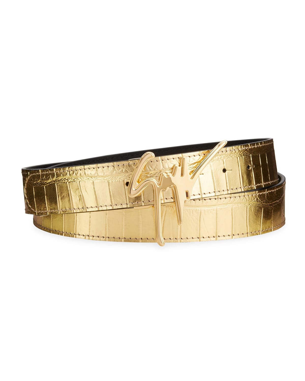 Men's Signature Crocodile-Embossed Leather Logo Belt