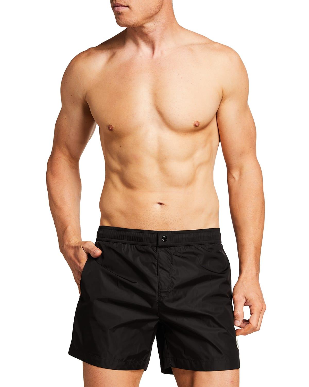 Men's Solid Nylon Swim Trunks