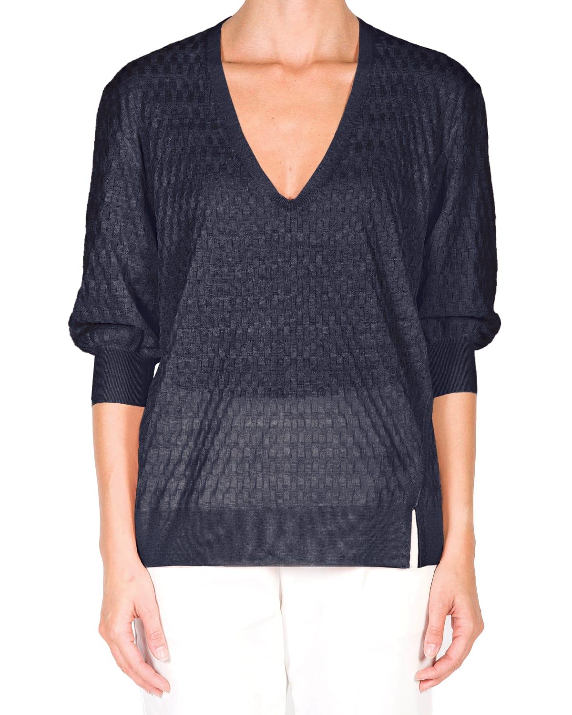 Textured Knit Linen-Silk Sweater