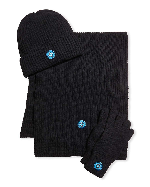 Men's Peak Cashmere Hat Gloves Scarf Set