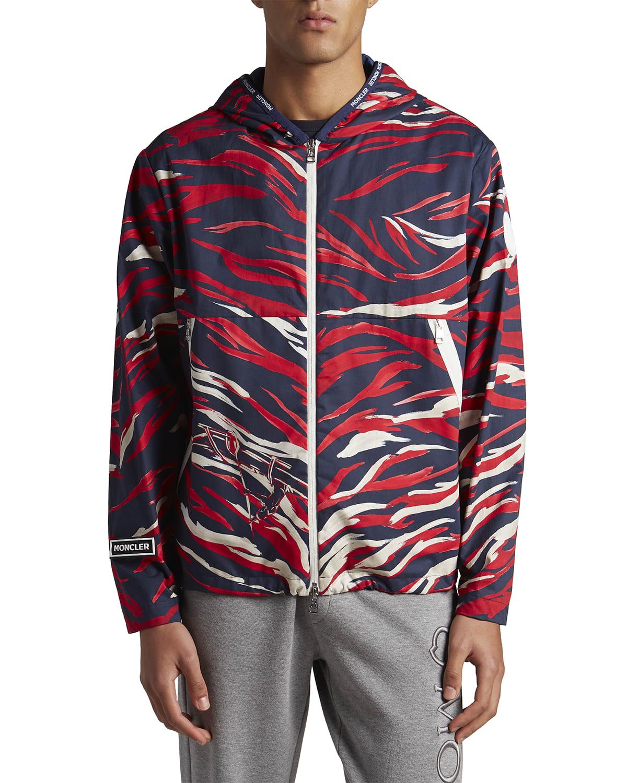Men's Chardon Flame-Print Hooded Jacket