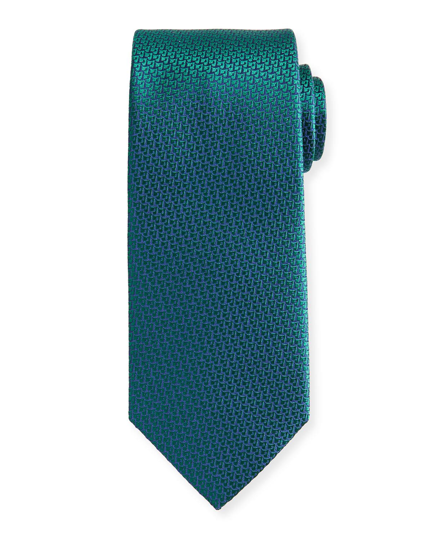 Men's Small Geo-Pattern Silk Tie
