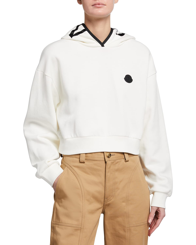 French-Terry Cropped Sweatshirt w/ Logo Hood