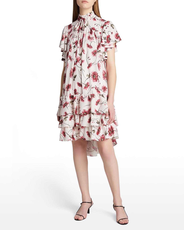 Floral-Print High-Neck Tiered Flounce Dress