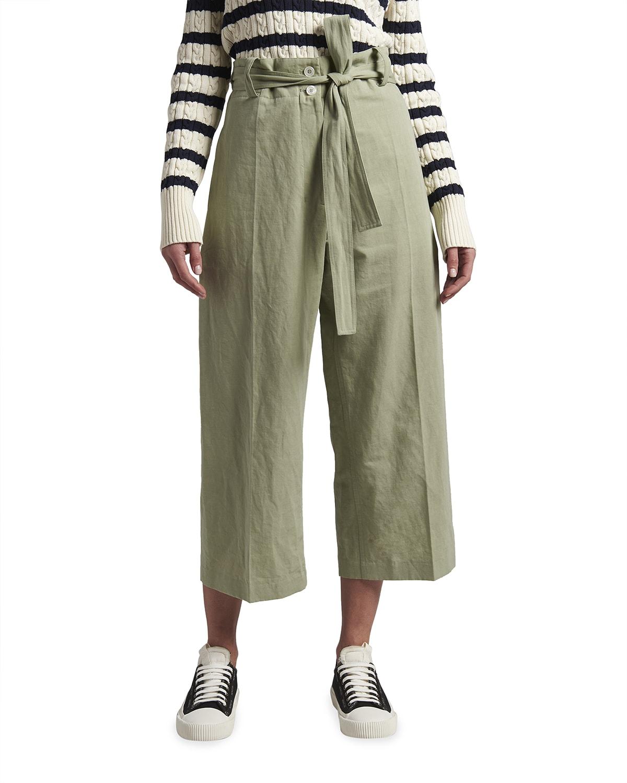 2 Moncler 1952 Paperbag Cotton Cropped Pants