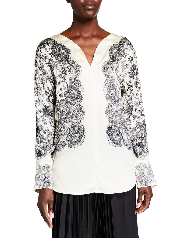 Lace-Print Silk Tunic
