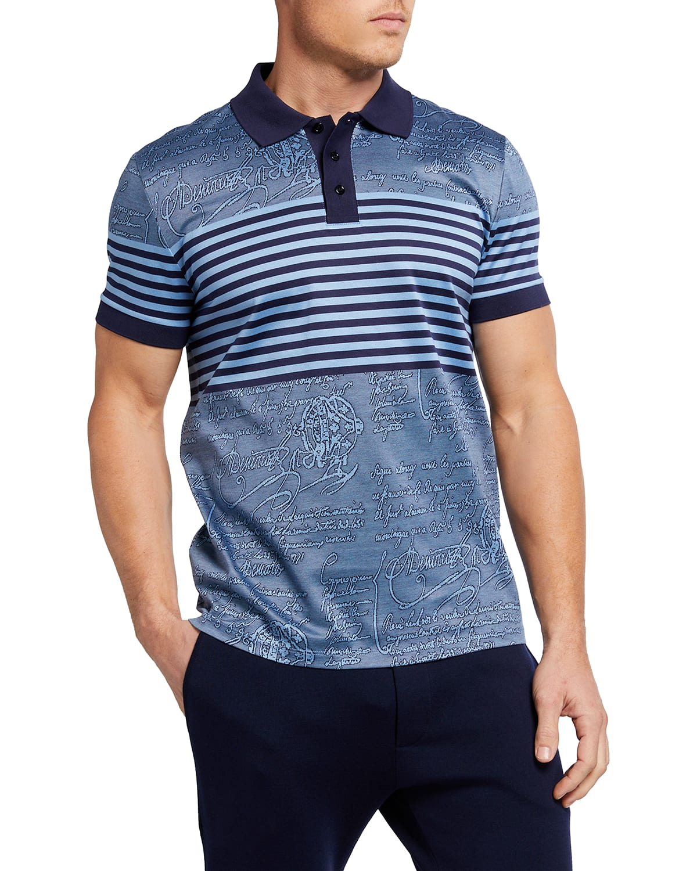 Men's Scritto Stripe Knit Polo Shirt
