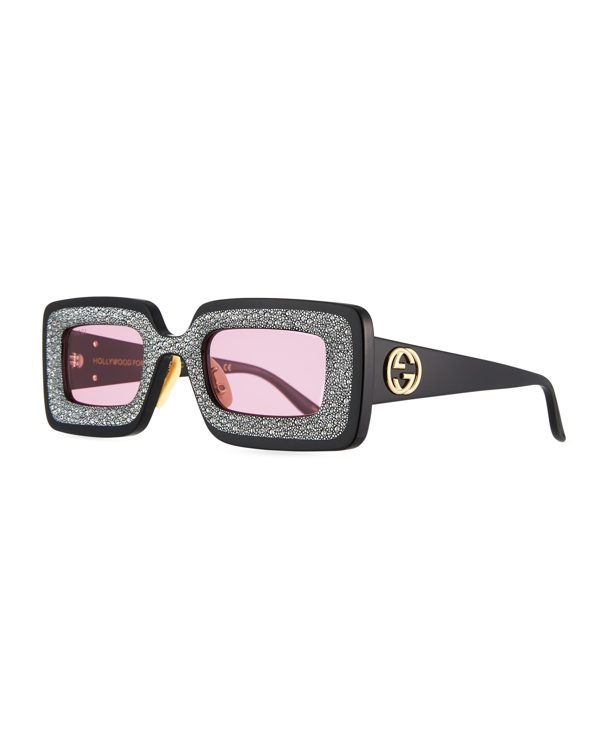 Hollywood Forever Rectangular Acetate Sunglasses with Crystals
