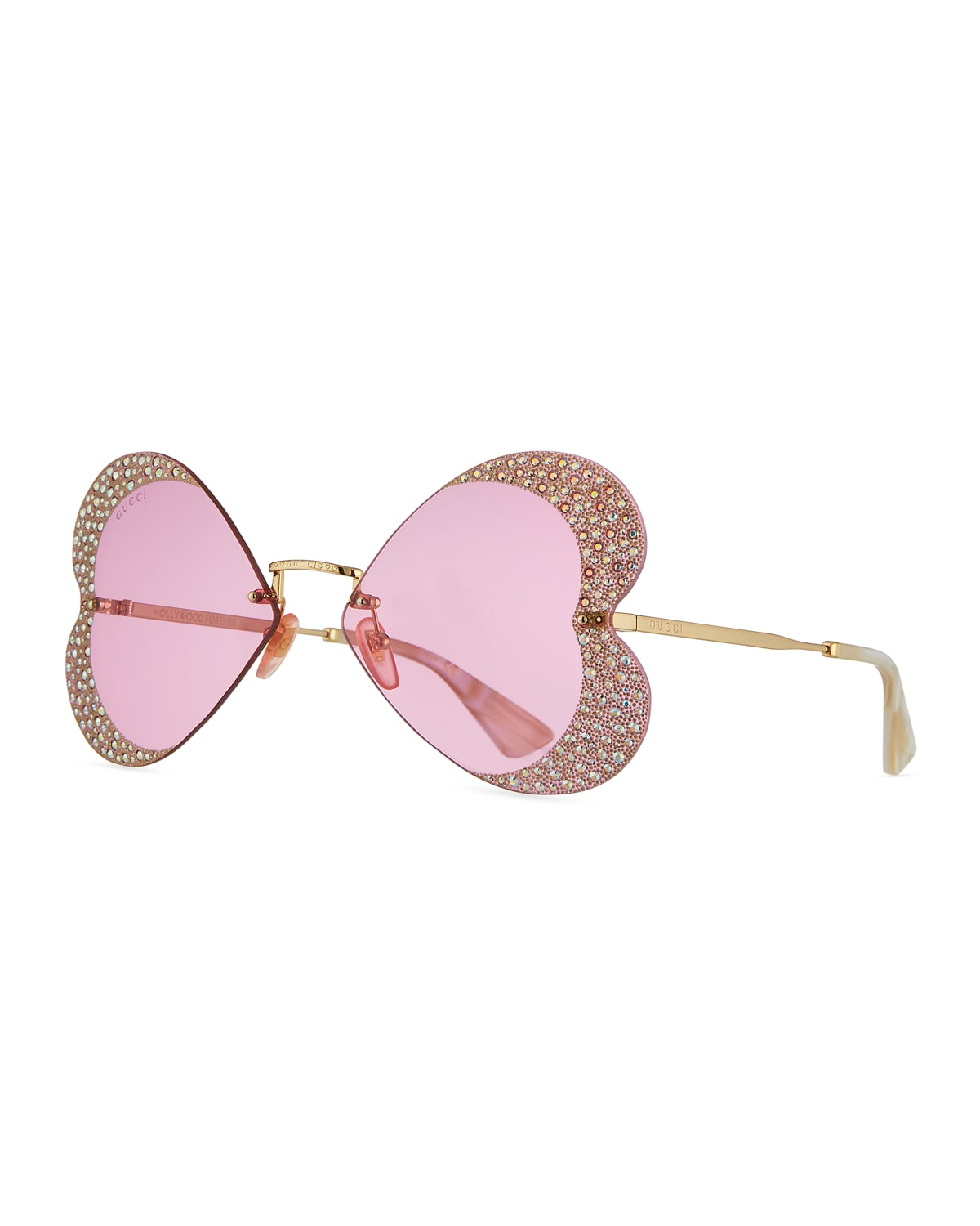Hollywood Forever Rimless Metal Heart Sunglasses with Crystals