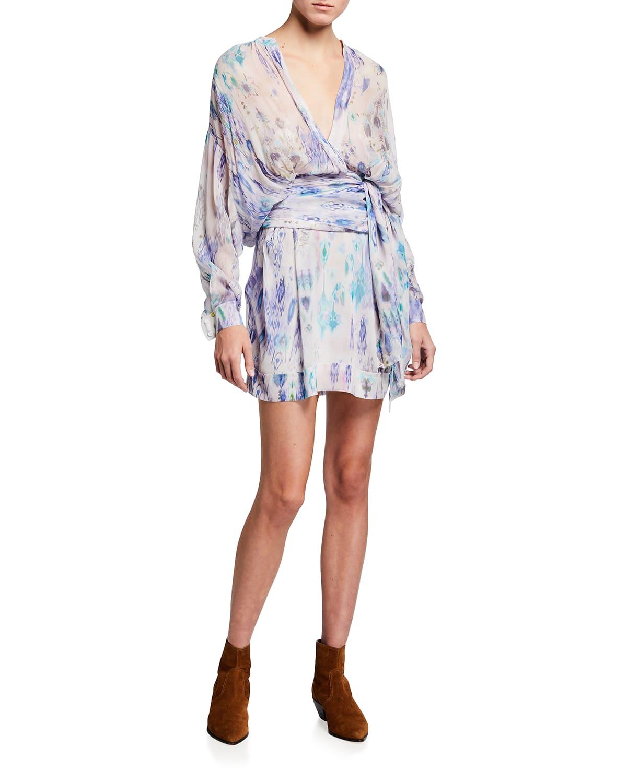 Keita Printed Tie-Waist Short Dress