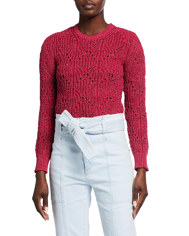 Aryna Metallic Pointelle Crewneck Sweater