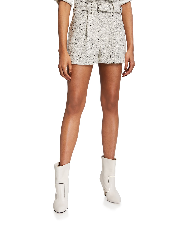 Same Tweed Belted Shorts