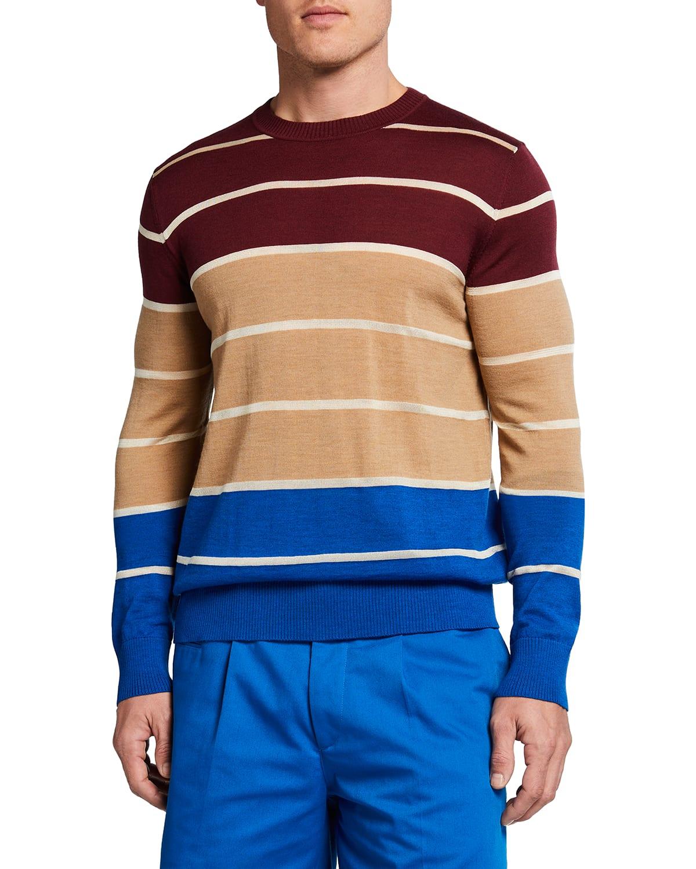 Men's Triple Colorblock Stripe Sweater