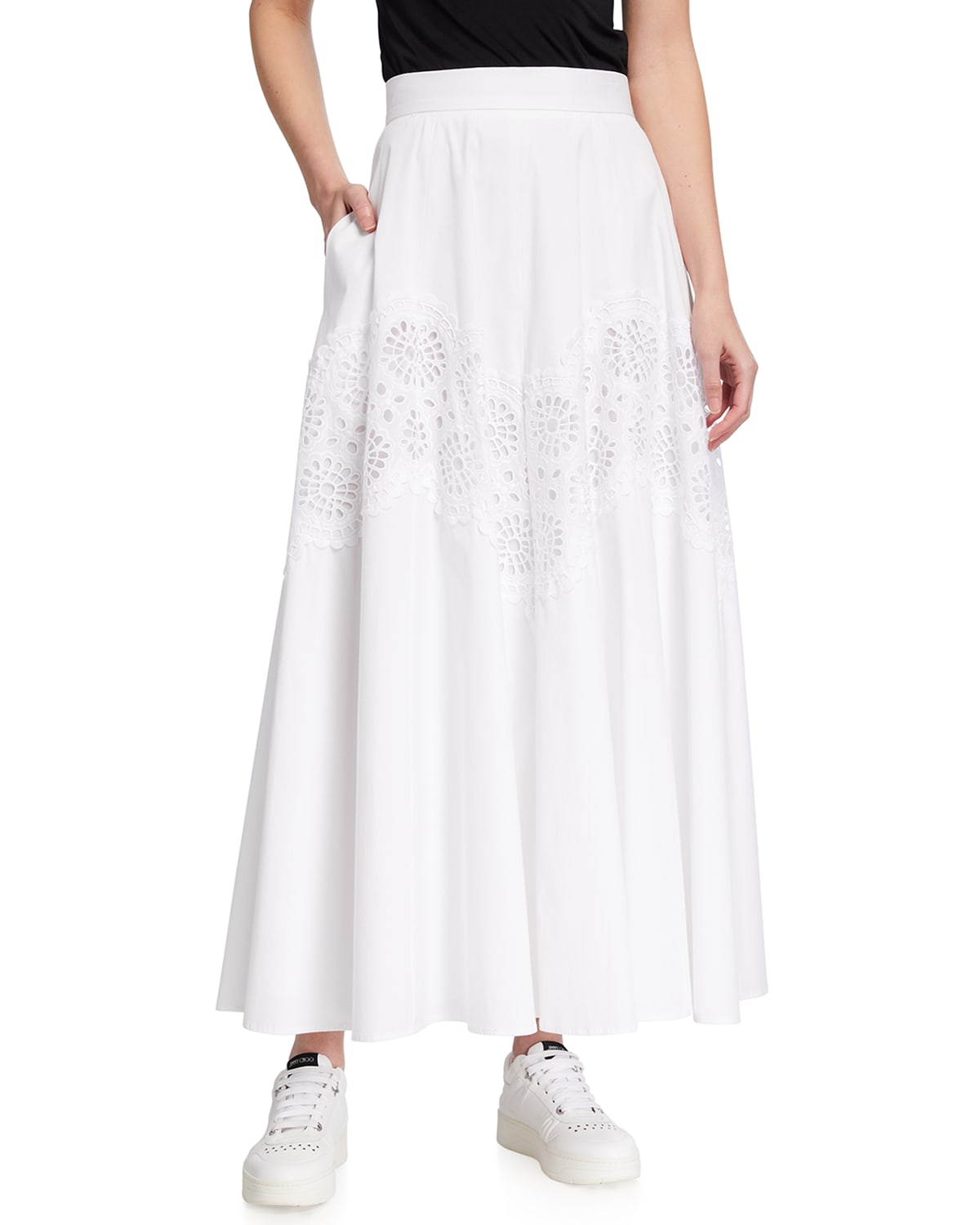 Floral Embroidered Seamed Full Skirt