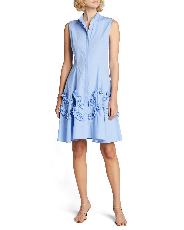 Sleeveless A-Line Ruffle-Trim Dress