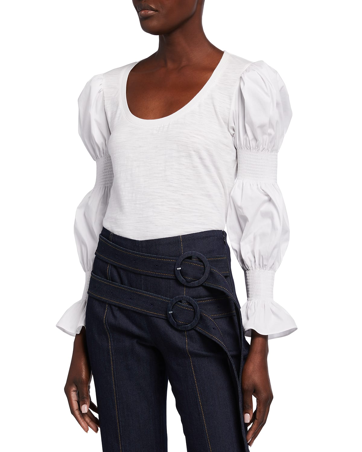 Libby Tiered Puff-Sleeve Top