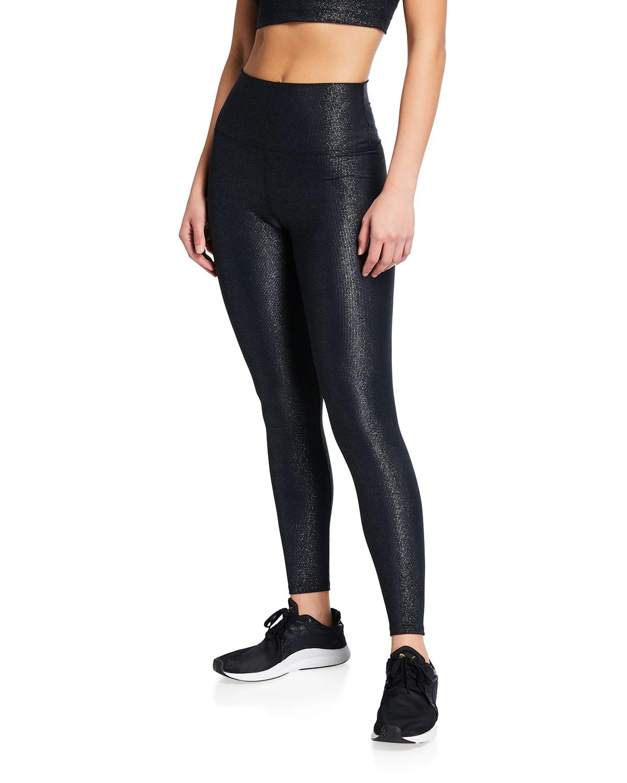 Ayla Glittery Rib-Knit Active Leggings