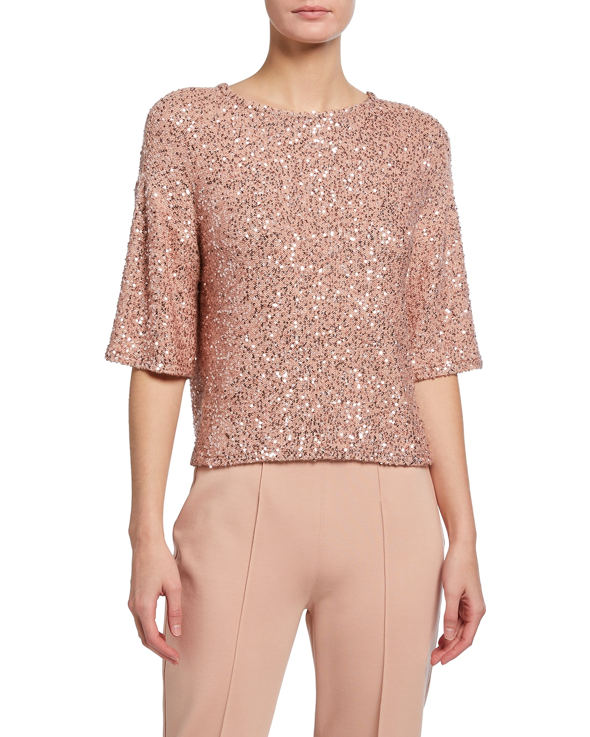 Sequined Cashmere-Silk Tee
