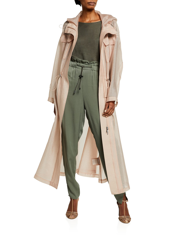Techno Crinkle Chiffon Hooded Trench Coat