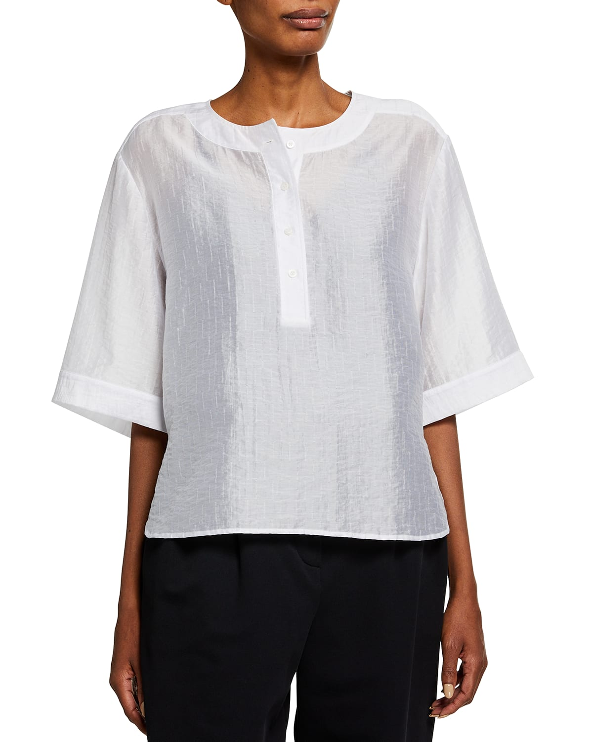 Henley Top with Oversized Sleeves