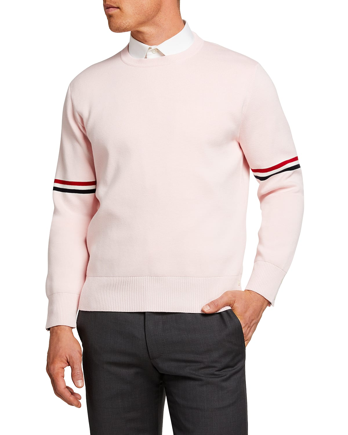 Men's Crew Sweater with Ribbon Arm Bands