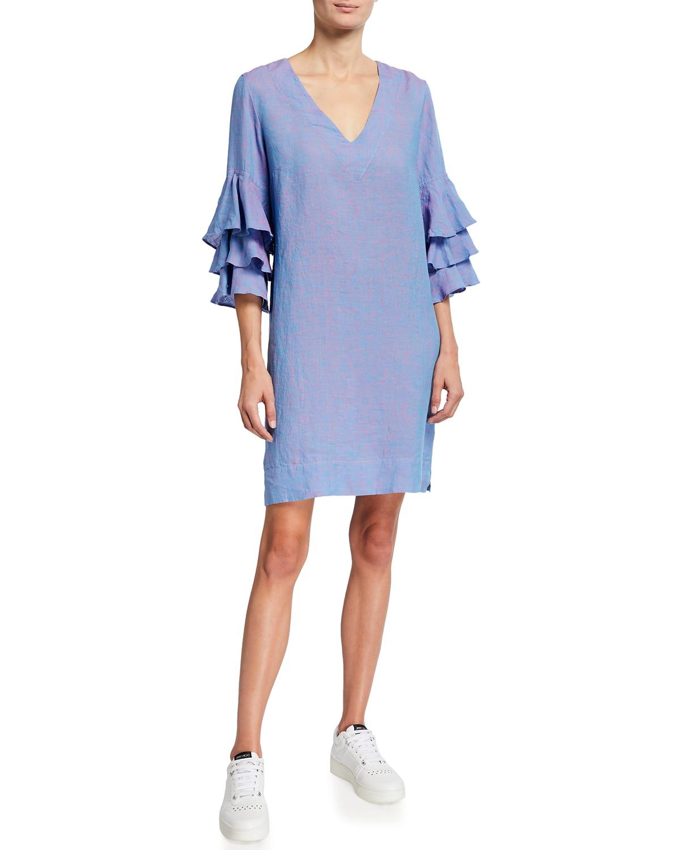 Farrah Tiered Flutter-Sleeve Chambray Dress