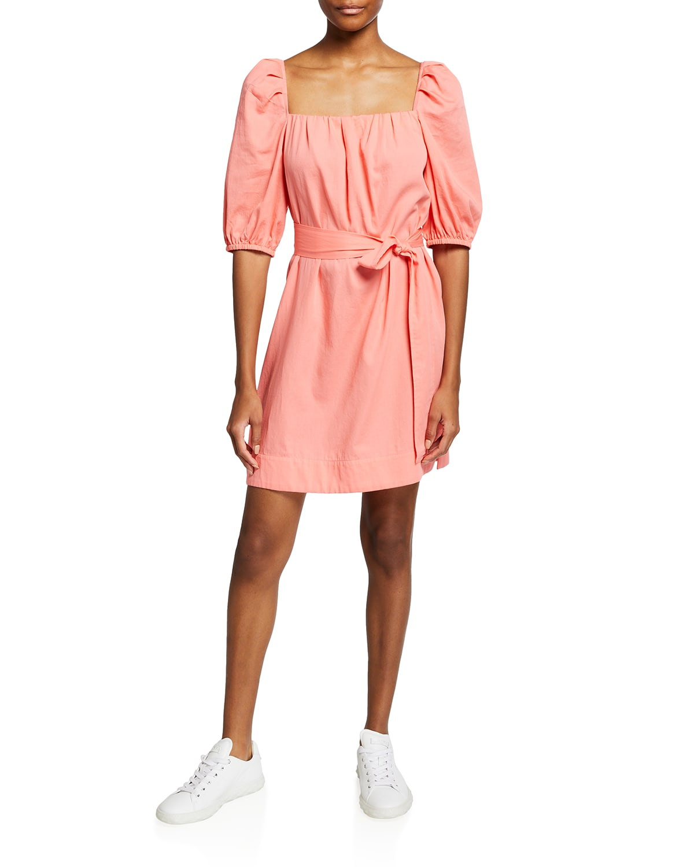 Bubble-Sleeve Romantic Shift Dress