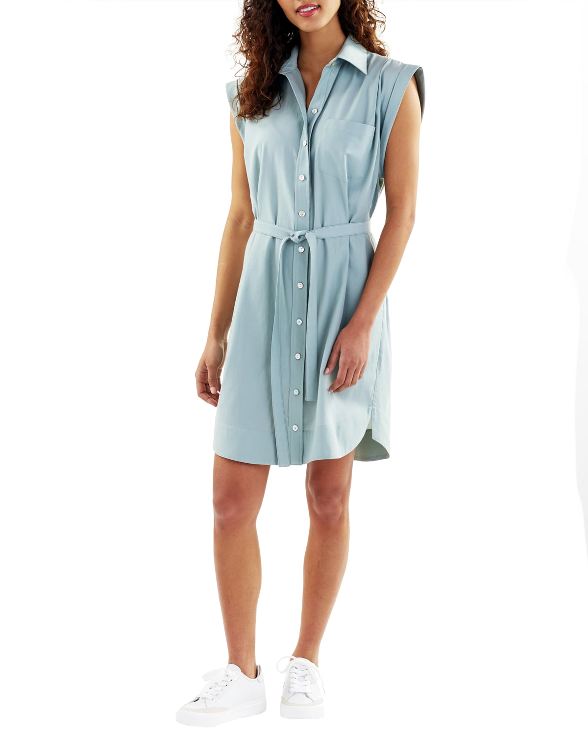 Fisher Cap-Sleeve Belted Shirtdress