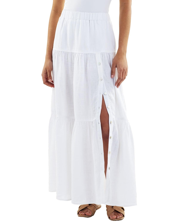 Charming Long Tiered Linen Maxi Skirt