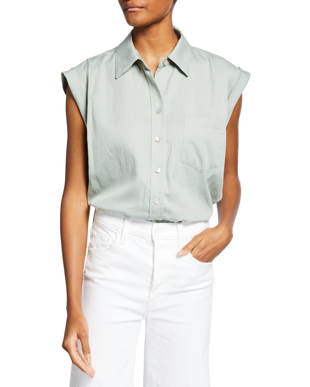 Daryl Cap-Sleeve Solid Lawn Shirt