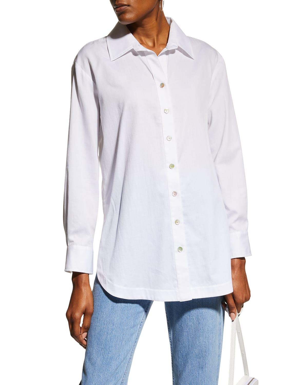 Solid Cotton Lawn Boyfriend Shirt