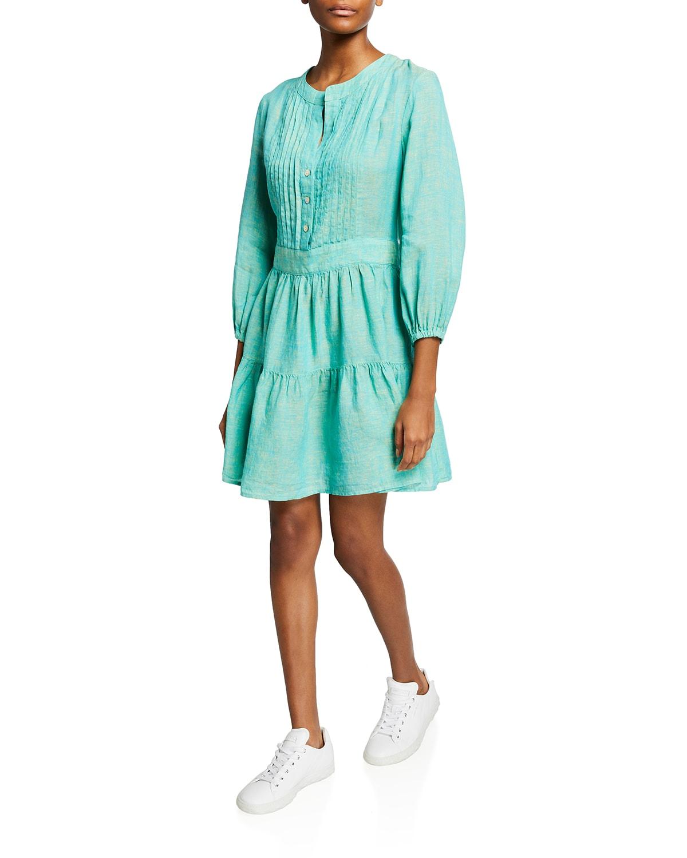Mia Pintucked Linen Peasant Dress